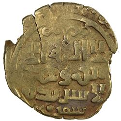 GREAT MONGOLS: Anonymous, ca. 1241-1245, AV dinar (3.42g), Samarqand, DM. VF