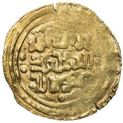 GREAT MONGOLS: Anonymous, ca. 1220s-1240s, AV dinar (4.13g), ND/DM. VF