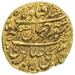 ZAND: Karim Khan, 1753-1779, AV 1/4 mohur (2.72g), Isfahan, AH1181. EF