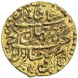 ZAND: Karim Khan, 1753-1779, AV 1/4 mohur (2.70g), Isfahan, AH1181. EF