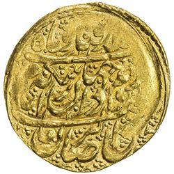 ZAND: Karim Khan, 1753-1779, AV 1/4 mohur (2.73g), Kashan, AH1189. VF-EF