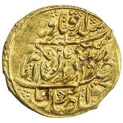 ZAND: Karim Khan, 1753-1779, AV 1/4 mohur (2.73g), Kashan, AH1190. EF