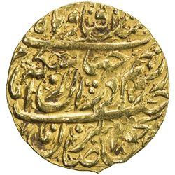 ZAND: Karim Khan, 1753-1779, AV 1/4 mohur (2.68g), Qazwin, AH1182. EF