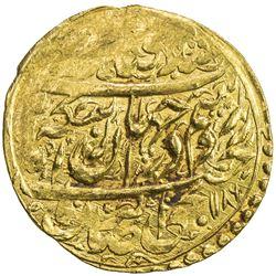 ZAND: Karim Khan, 1753-1779, AV 1/4 mohur (2.75g), Qazwin, AH1186. EF