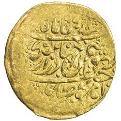 ZAND: Karim Khan, 1753-1779, AV 1/4 mohur (2.71g), Rasht, AH1187. VF