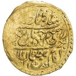 ZAND: Karim Khan, 1753-1779, AV 1/4 mohur (2.71g), Yazd, AH1109 (for 1190). EF