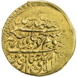 ZAND: Karim Khan, 1753-1779, AV 1/4 mohur (2.76g), Yazd, AH1109 (for 1190). EF