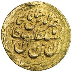 QAJAR: Nasir al-Din Shah, 1848-1896, AV toman (3.43g), Mashhad Muqaddas, AH1272. EF