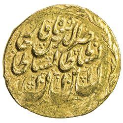 QAJAR: Nasir al-Din Shah, 1848-1896, AV toman (3.47g), Mashhad Muqaddas, AH1272. EF