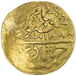 MANGHIT OF BUKHARA: Muzaffar al-Din, 1860-1886, AV tilla (4.48g), Bukhara, AH1298//1298. VF