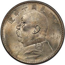 CHINA: Republic, AR dollar, year 10 (1921). PCGS MS61
