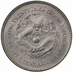 CHIHLI: Kuang Hsu, 1875-1908, AR dollar, Peiyang Arsenal mint, Tientsin, year 23 (1897). PCGS UNC