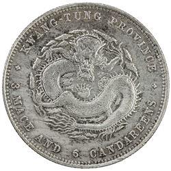 KWANGTUNG: Kuang Hsu, 1875-1908, AR 50 centrs, ND (1890-1905). EF