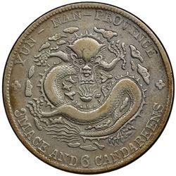 YUNNAN: Kuang Hsu, 1875-1908, AR 50 cents, ND (1908). PCGS VF30