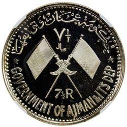AJMAN: Rashid Bin Hamad al-Naimi, 1928-1981, AR 7 1/2 riyals, AH1390/1970. NGC MS66