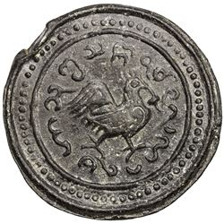 TENASSERIM-PEGU: Anonymous, 17th-18th century, cast large tin coin (72.70g). EF-AU