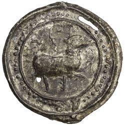 TENASSERIM-PEGU: Anonymous, 17th-18th century, cast large tin coin (41.62g). EF