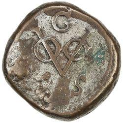 CEYLON (DUTCH): AE 2 stuiver (28.19g), Galle, 1787-G. VF
