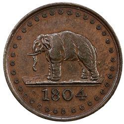 CEYLON: George III, 1760-1820, AE 1/192 rixdollar, 1804, KM-73, Prid-87, Cr-25, proof
