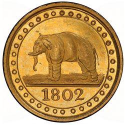 CEYLON: George III, 1796-1820, gilt AE 1/192 rixdollar, 1802. PCGS PF63