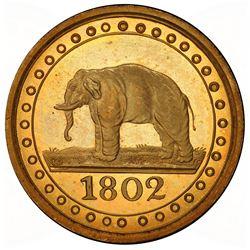 CEYLON: George III, 1796-1820, gilt AE 1/192 rixdollar, 1802. PCGS PF65