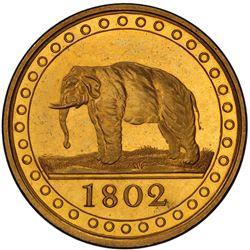 CEYLON: George III, 1796-1820, gilt AE 1/96 rixdollar, 1802. PCGS PF64