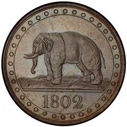 CEYLON: George III, 1796-1820, AE 1/48 rixdollar, 1802. PCGS PF63