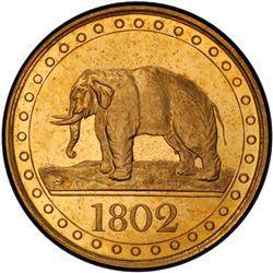 CEYLON: George III, 1796-1820, gilt AE 1/48 rixdollar, 1802. PCGS PF64