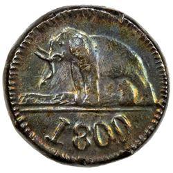 CEYLON: George III, 1760-1820, AR 48 stivers, 1809. AU