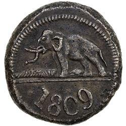 CEYLON: George III, 1760-1820, AR 96 stivers (18.15g), 1809. VF-EF