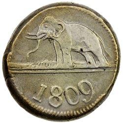 CEYLON: George III, 1760-1820, AR 96 stivers (18.27g), 1809. VF