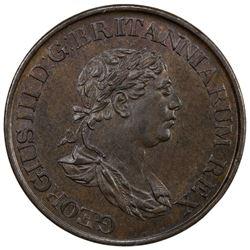 CEYLON: George III, 1760-1820, AE 1/2 stiver, 1815. UNC