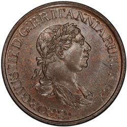 CEYLON: George III, 1796-1820, AE 1/2 stiver, 1815. PCGS UNC
