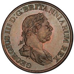 CEYLON: George III, 1796-1820, AE 2 stivers, 1815. PCGS MS65