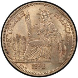 FRENCH INDOCHINA: AR piastre, 1898-A. NGC MS62
