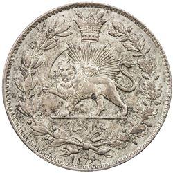 IRAN: Nasir al-Din Shah, 1848-1896, AR 1000 dinars, Tehran, AH1296. AU