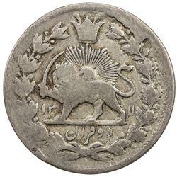 IRAN: Nasir al-Din Shah, 1848-1896, AR 2 qiran (=2000 dinars), Tehran, AH1311. F-VF