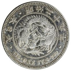JAPAN: Meiji, 1868-1912, AR yen, year 29 (1896), Y-28a.2, EF