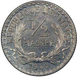 LEBANON: French Mandate, zinc 1/2 piastre, 1941(p). PCGS MS64