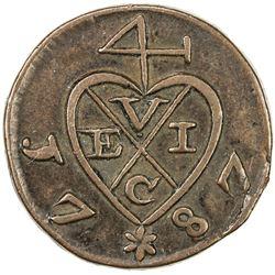 PENANG: AE 1/2 cent, 1787. VF