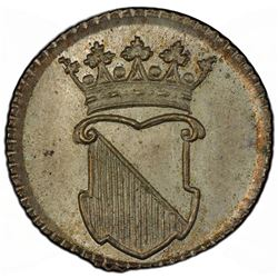 NETHERLANDS EAST INDIES: AE 1/2 duit, 1758. PCGS SP65