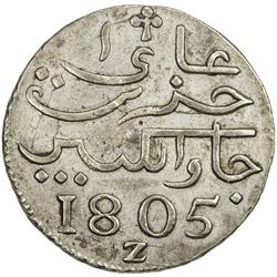 NETHERLANDS EAST INDIES: Batavian Republic, 1799-1806, AR rupee (12.55g), Java, 1805-Z. EF
