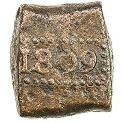 NETHERLANDS EAST INDIES: AE bonk stuiver (12.83g), 1809. VF