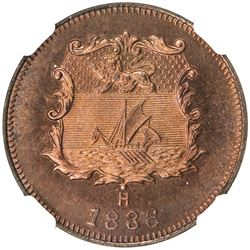 BRITISH NORTH BORNEO: Victoria, 1881-1901, AE 1/2 cent, 1886-H. NGC MS65