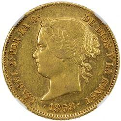 PHILIPPINES: Isabel II, 1833-1868, AV 4 pesos, 1868. NGC AU55