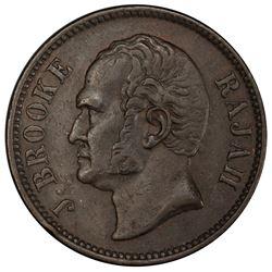 SARAWAK: James Brooke, 1841-1868, AE 1/2 cent, 1863. PCGS AU55