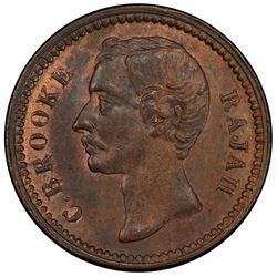 SARAWAK: Charles J. Brooke, 1868-1917, AE 1/4 cent, 1896-H. PCGS MS63