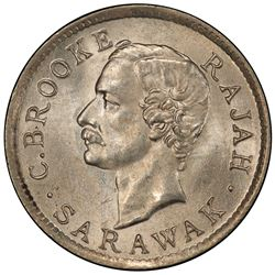 SARAWAK: Charles J. Brooke, 1868-1917, AR 5 cents, 1915-H. PCGS MS65