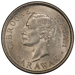 SARAWAK: Charles J. Brooke, 1868-1917, AR 10 cents, 1913-H. PCGS MS63