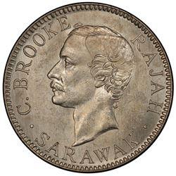 SARAWAK: Charles J. Brooke, 1868-1917, AR 20 cents, 1900-H. PCGS MS63